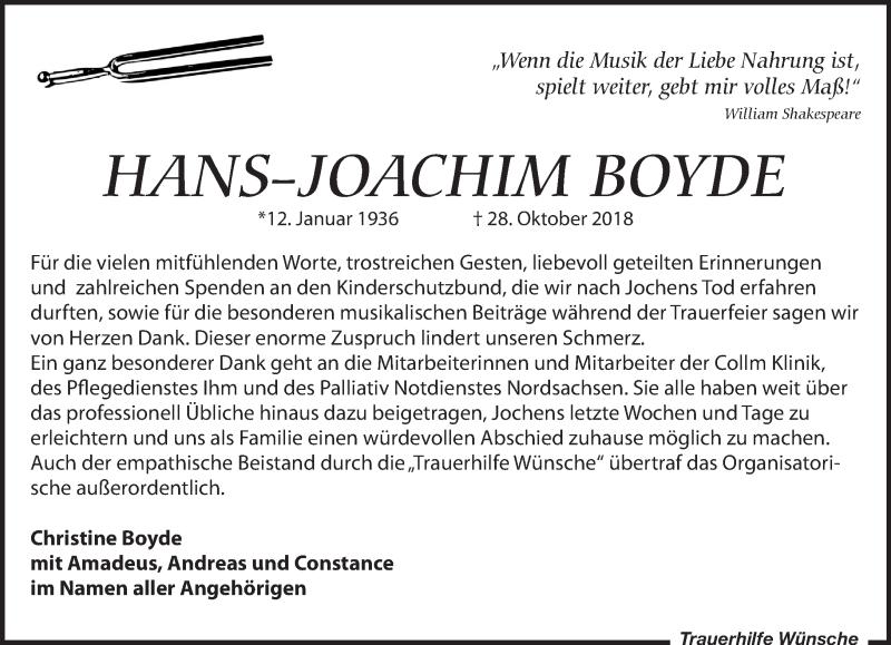 Traueranzeige von  Hans-Joachim Boyde