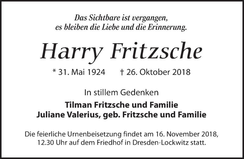 Traueranzeige für Harry Fritzsche vom 03.11.2018 aus Dresdner Neue Nachrichten