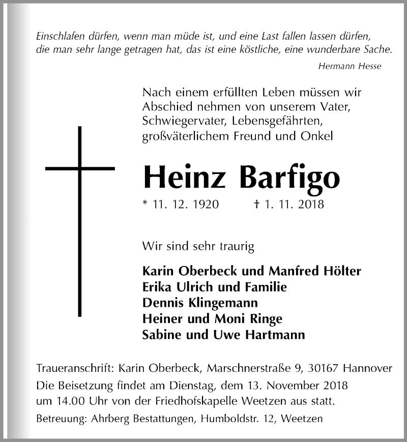 Traueranzeige von  Heinz Barfigo