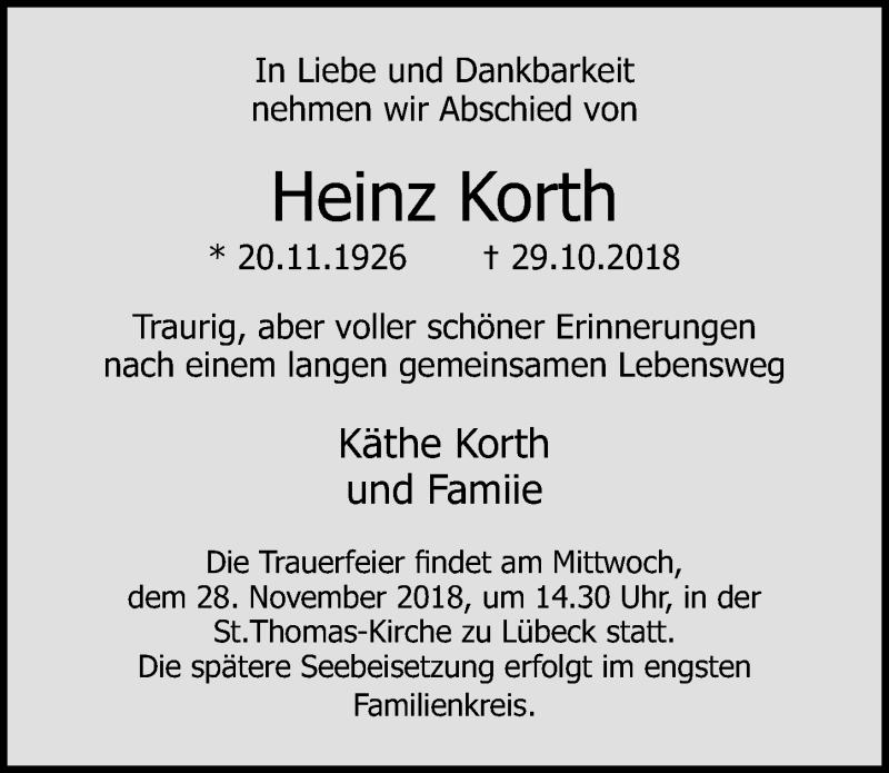 Traueranzeige von  Heinz Korth