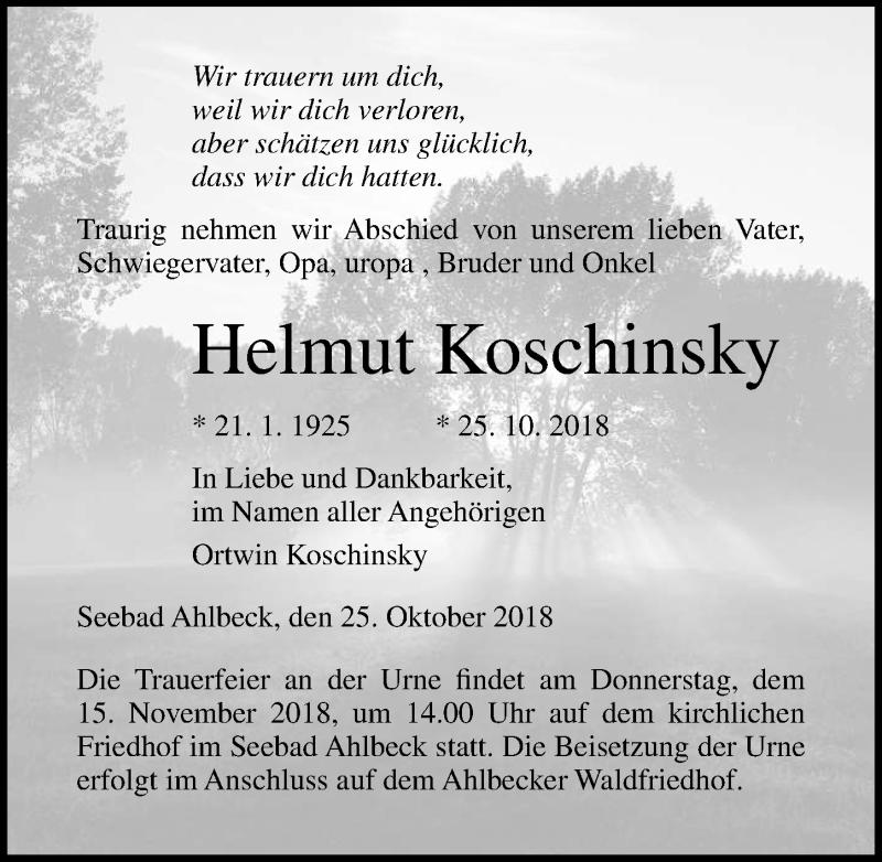 Traueranzeige von  Helmut Koschinsky
