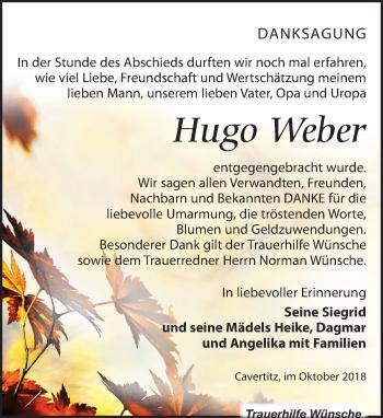 Traueranzeige für Hugo Weber vom 03.11.2018 aus Leipziger Volkszeitung