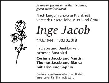 Traueranzeige für Inge Jacob vom 09.11.2018 aus Dresdner Neue Nachrichten