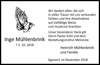 Traueranzeige für Inge Mühlenbrink vom 10.11.2018 aus Hannoversche Allgemeine Zeitung/Neue Presse