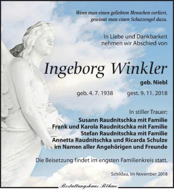 Traueranzeige für Ingeborg Winkler vom 17.11.2018 aus Torgauer Zeitung