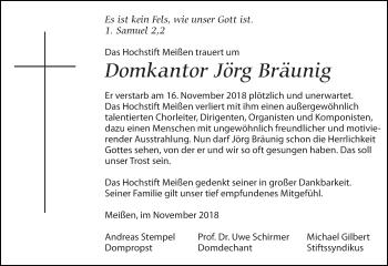 Traueranzeige für Jörg Bräunig vom 24.11.2018 aus Leipziger Volkszeitung