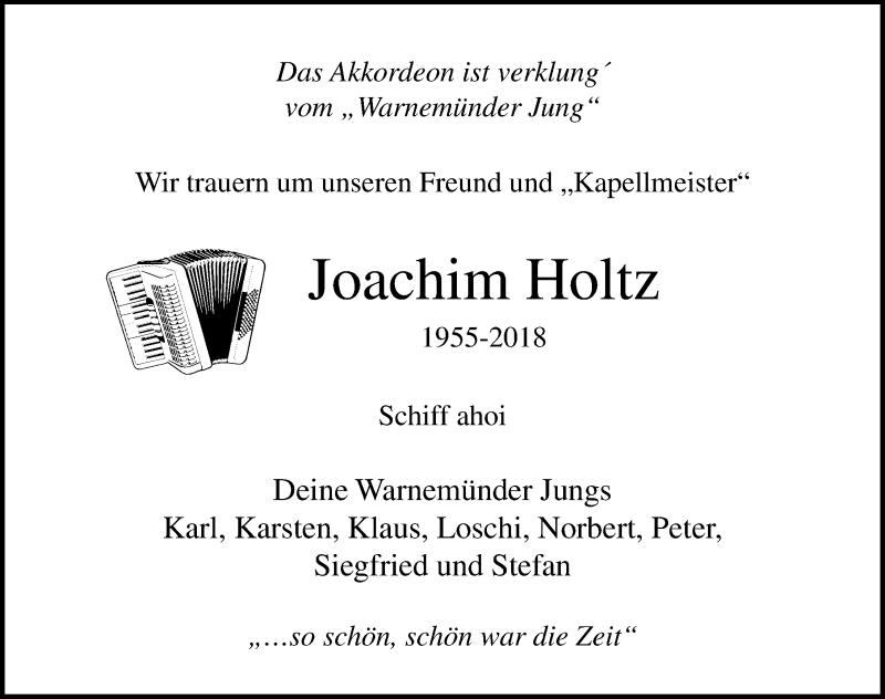 Traueranzeige von  Joachim Holtz