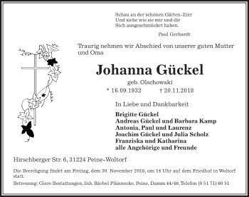Traueranzeige für Johanna Gückel vom 24.11.2018 aus Peiner Allgemeine Zeitung