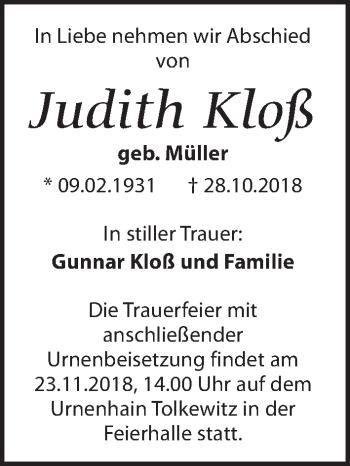 Traueranzeige für Judith Kloß vom 10.11.2018 aus Dresdner Neue Nachrichten