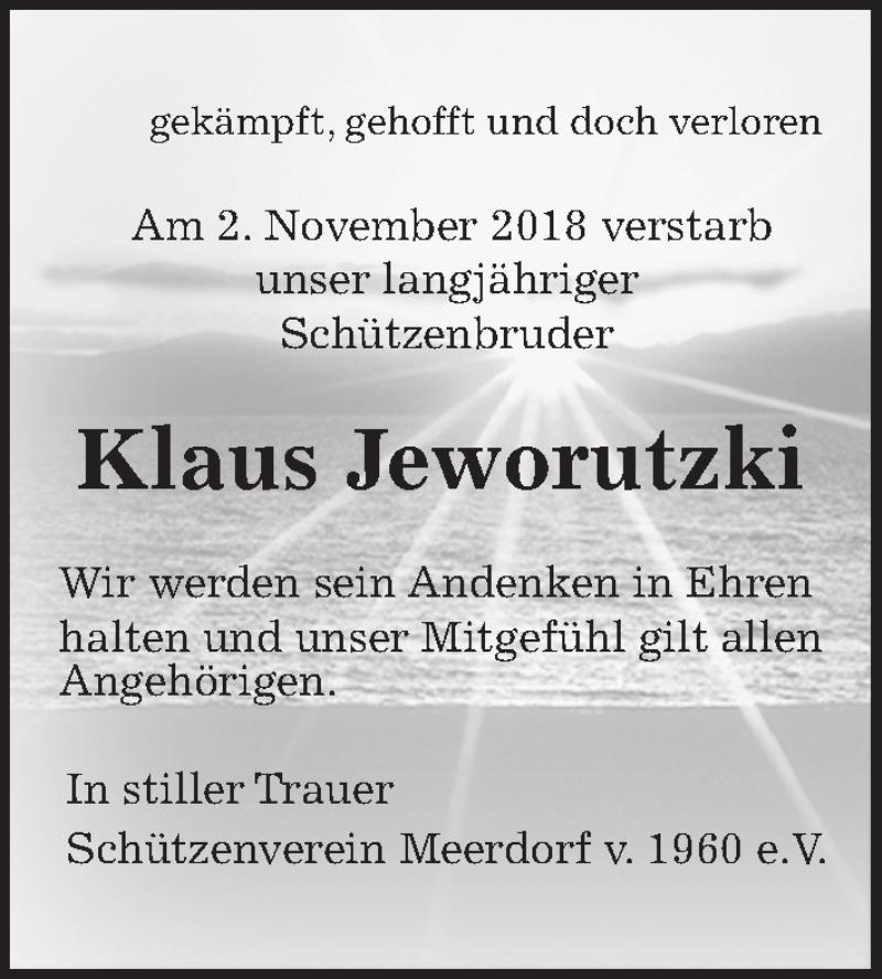 Traueranzeige für Klaus Jeworutzki vom 23.11.2018 aus Peiner Allgemeine Zeitung