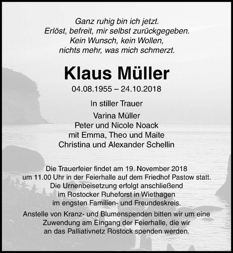 Traueranzeige von  Klaus Müller