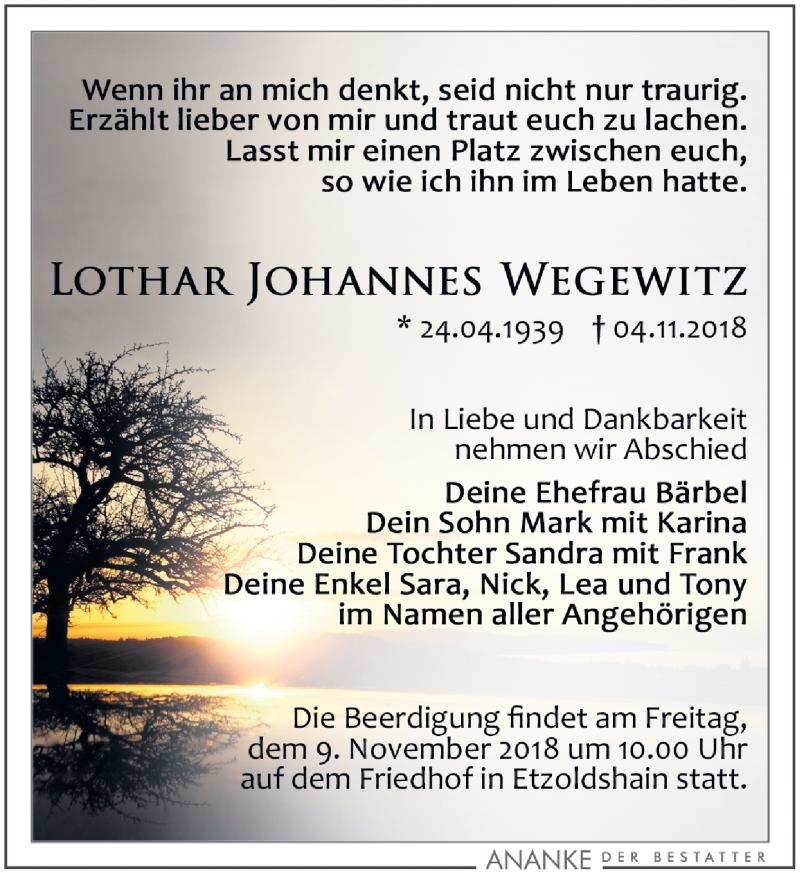 Traueranzeige von  Lothar Johannes Wegewitz