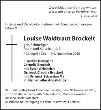 Traueranzeige für Louise Waltraut Brockelt vom 17.11.2018 aus Dresdner Neue Nachrichten