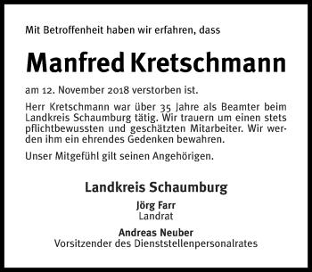 Traueranzeige für Manfred Kretschmann vom 29.11.2018 aus Schaumburger Nachrichten