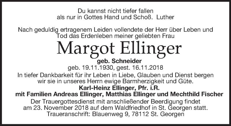 Traueranzeige für Margot Ellinger vom 20.11.2018 aus Dresdner Neue Nachrichten
