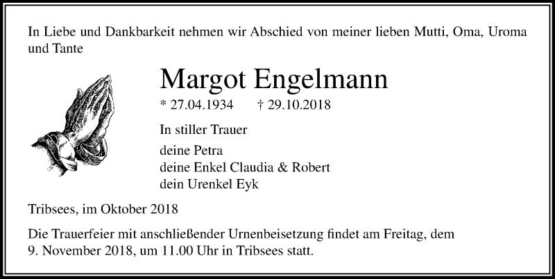 Traueranzeige von  Margot Engelmann