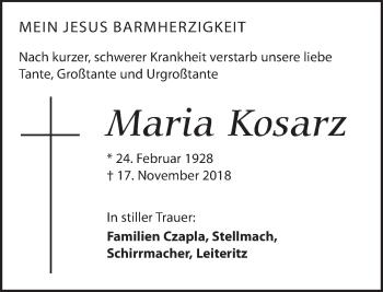 Traueranzeige für Maria Kosarz vom 24.11.2018 aus Dresdner Neue Nachrichten