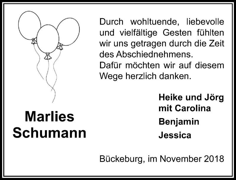 Traueranzeige für Marlies Schumann vom 03.11.2018 aus Schaumburger Nachrichten