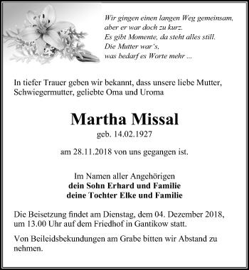 Traueranzeige für Martha Missal vom 29.11.2018 aus Märkischen Allgemeine Zeitung