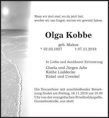 Traueranzeige für Olga Kobbe vom 13.11.2018 aus Peiner Allgemeine Zeitung