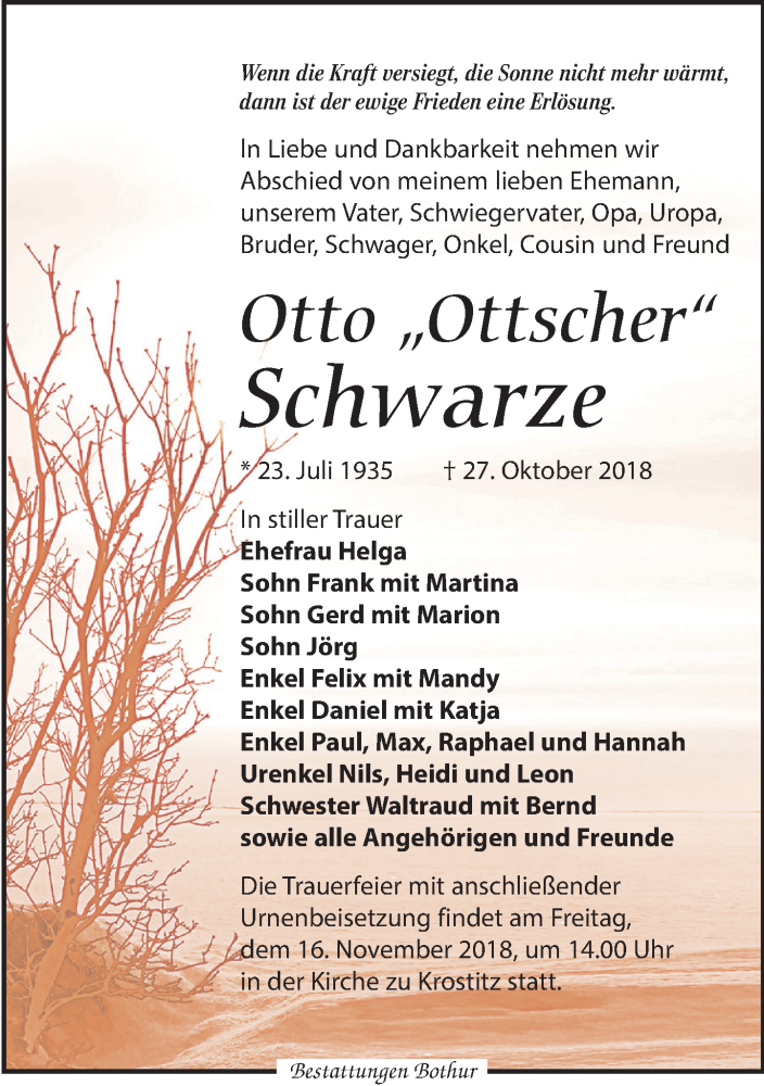 Traueranzeige von  Otto Schwarze