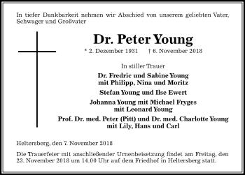Traueranzeige für Peter Young vom 17.11.2018 aus Peiner Allgemeine Zeitung