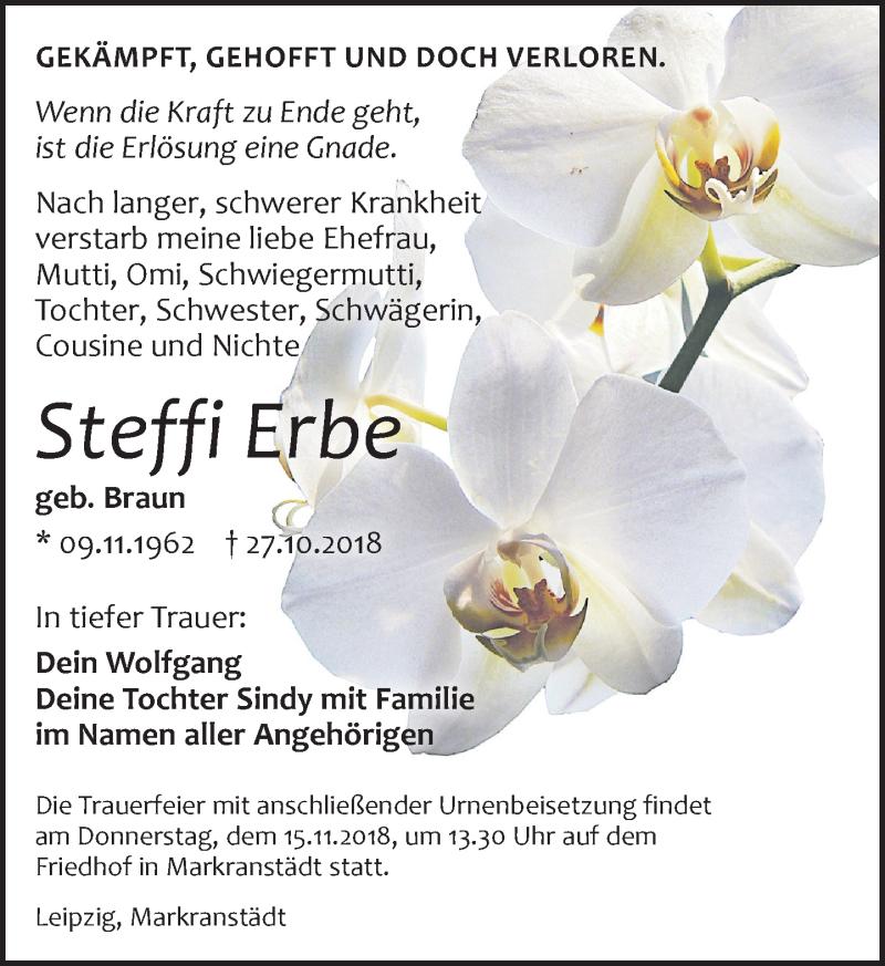 Traueranzeige von  Steffi Erbe