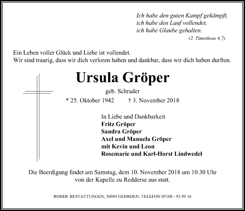 Traueranzeige von  Ursula Gröper
