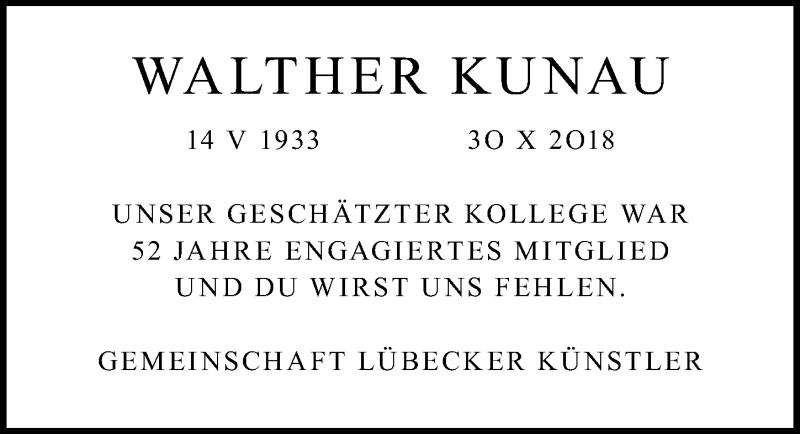 Traueranzeige von  Walther Kunau