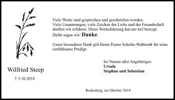 Traueranzeige für Wilfried Steep vom 03.11.2018 aus Schaumburger Nachrichten