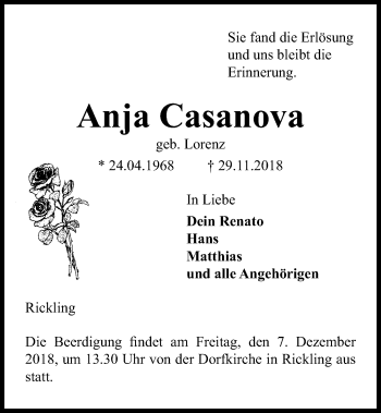 Traueranzeige für Anja Casanova vom 04.12.2018 aus Kieler Nachrichten