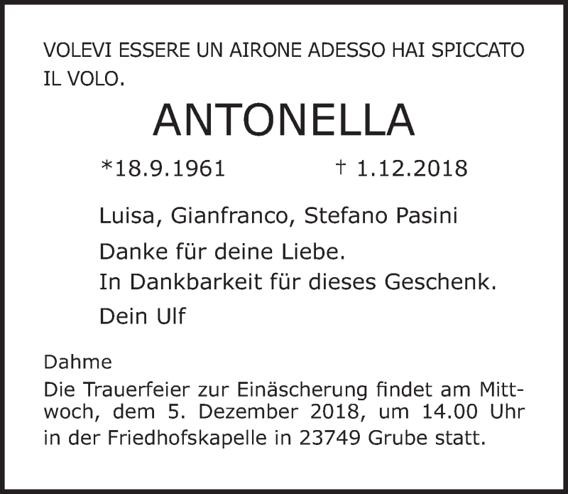 Traueranzeige von  Antonella