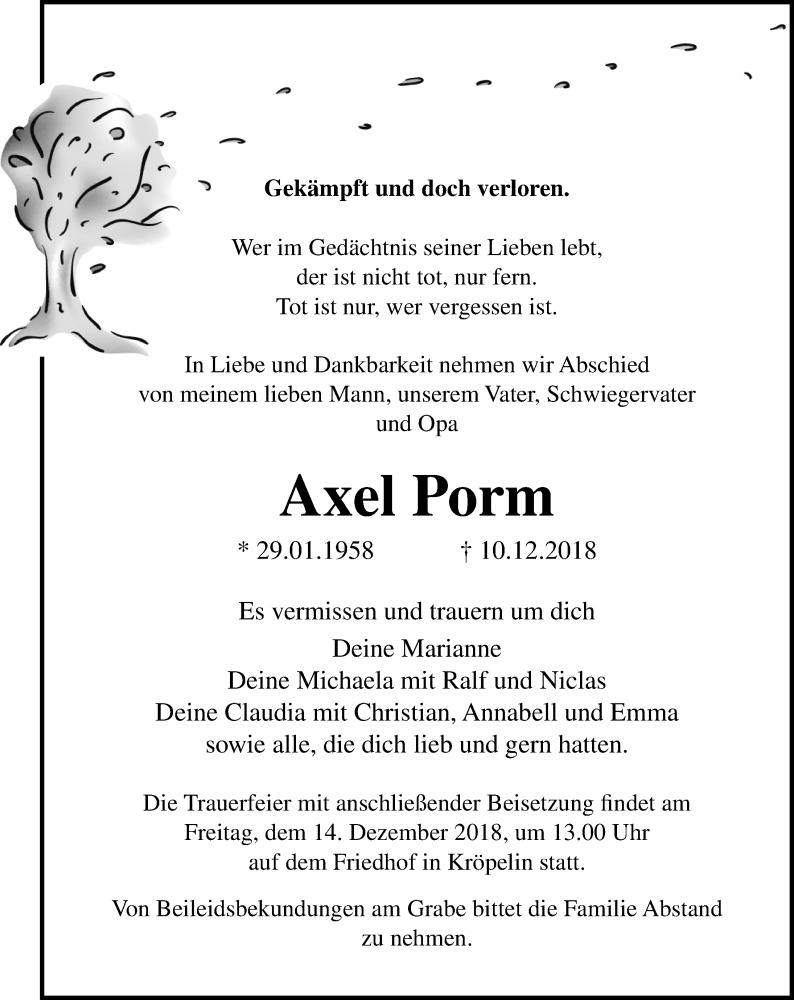 Traueranzeige für Axel Porm vom 12.12.2018 aus Ostsee-Zeitung GmbH
