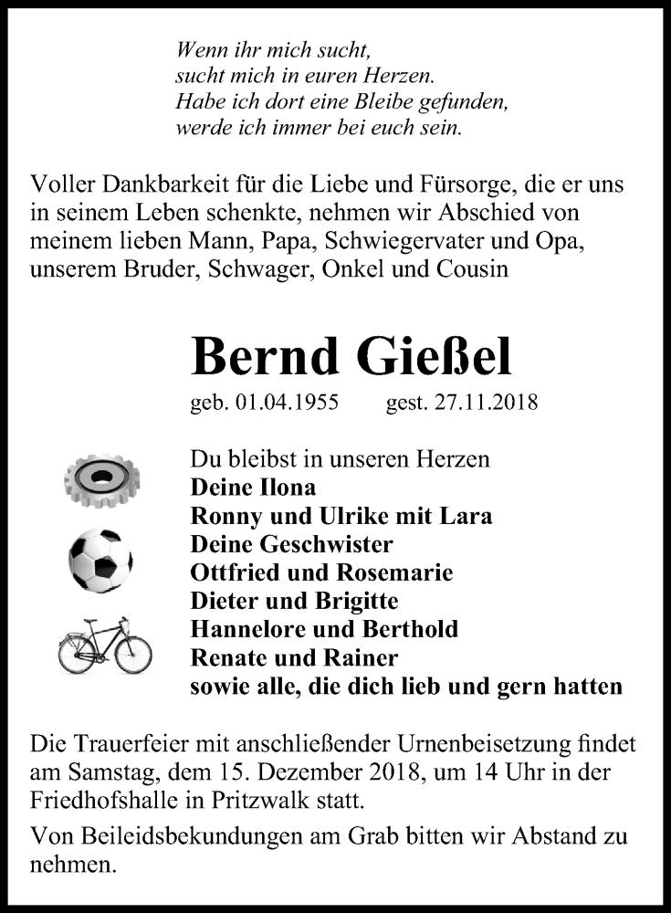 Traueranzeige für Bernd Gießel vom 01.12.2018 aus Märkischen Allgemeine Zeitung