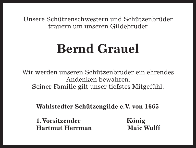 Traueranzeige von  Bernd Grauel
