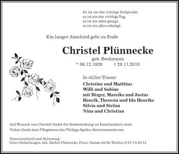 Traueranzeige für Christel Plünnecke vom 06.12.2018 aus Peiner Allgemeine Zeitung