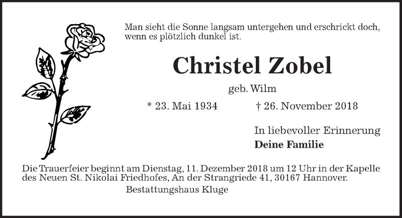 Traueranzeige von  Christel Zobel