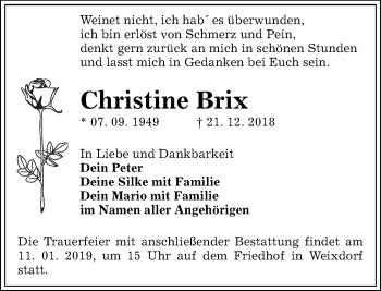 Traueranzeige für Christine Brix vom 29.12.2018 aus Dresdner Neue Nachrichten