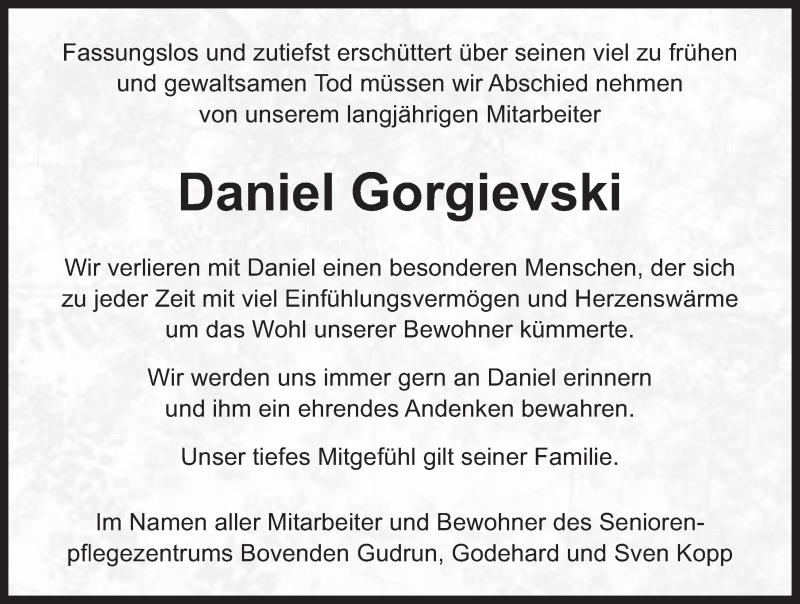 Traueranzeige von  Daniel Gorgievski