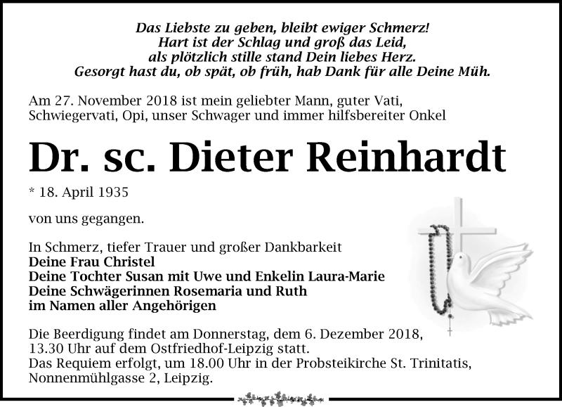Traueranzeige von  Dieter Reinhardt