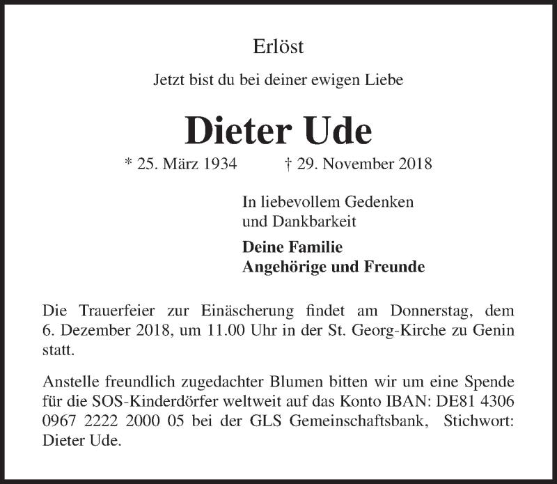 Traueranzeige von  Dieter Ude