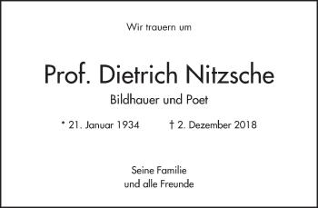 Traueranzeige für Dietrich Nitzsche vom 15.12.2018 aus Dresdner Neue Nachrichten