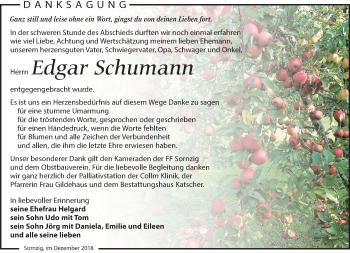 Traueranzeige für Edgar Schumann vom 15.12.2018 aus Leipziger Volkszeitung