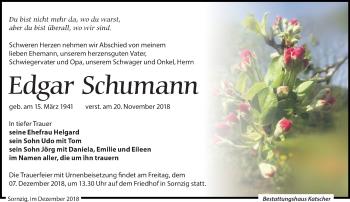 Traueranzeige für Edgar Schumann vom 01.12.2018 aus Leipziger Volkszeitung