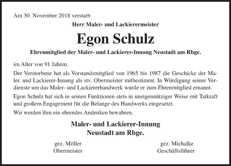 Traueranzeige von  Egon Schulz