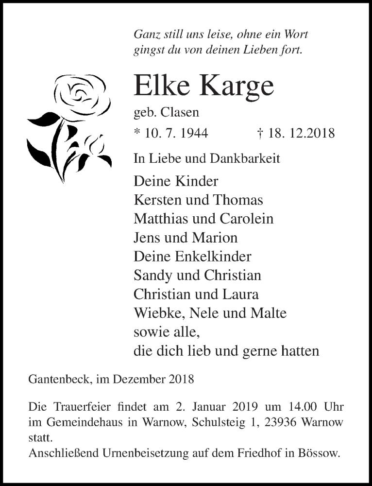 Traueranzeige für Elke Karge vom 29.12.2018 aus Ostsee-Zeitung GmbH