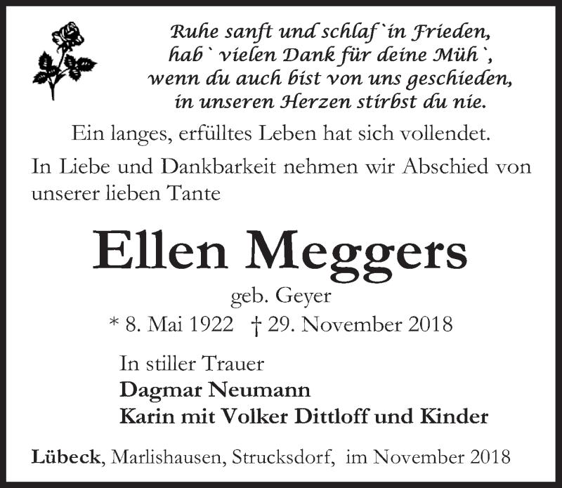 Traueranzeige von  Ellen Meggers