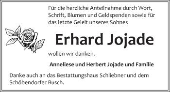 Traueranzeige für Erhard Jojade vom 22.12.2018 aus Märkischen Allgemeine Zeitung