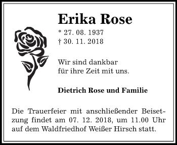 Traueranzeige für Erika Rose vom 06.12.2018 aus Dresdner Neue Nachrichten