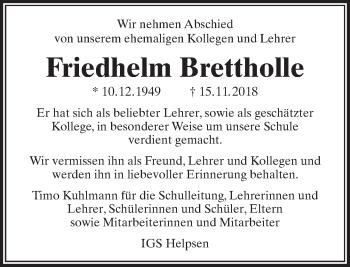 Traueranzeige für Friedhelm Brettholle vom 03.12.2018 aus Madsack GmbH